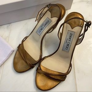 Jimmy Choo Metallic Leather Gold sandals-size 36